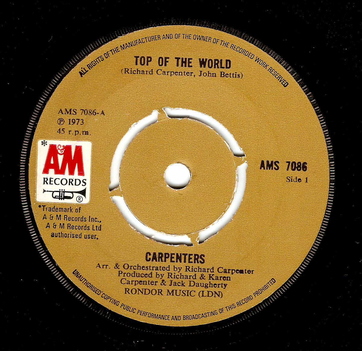 Carpenters Top Of The World Vinyl Record 7 Inch A Amp M 1973