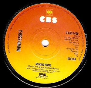 DAVID ESSEX Coming Home Vinyl Record 7 Inch CBS 1976