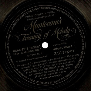 MANTOVANI Excerpts From Mantovani's Treasury Of Melody Flexi Disc 7 Inch Reader's Digest