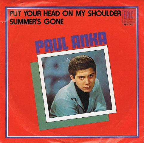 "PAUL ANKA Put Your Head On My Shoulder 7"" Single Vinyl Record 45rpm US Eric 1970"