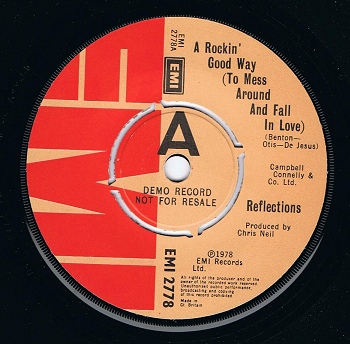 "REFLECTIONS A Rockin' Good Way (To Mess Around And Fall In Love) 7"" Vinyl Record DEMO EMI 1978"