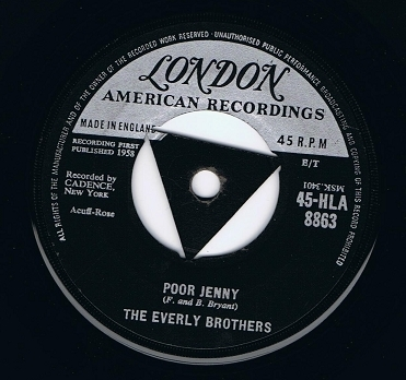 "THE EVERLY BROTHERS Poor Jenny 7"" Single Vinyl Record 45rpm London 1958"