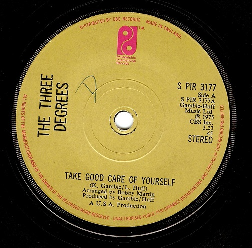 the three degrees take good care of yourself vinyl record 7 inch philadelphia 1975. Black Bedroom Furniture Sets. Home Design Ideas