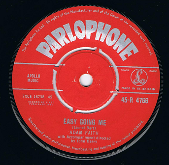 "ADAM FAITH Easy Going Me 7"" Single Vinyl Record 45rpm Parlophone 1961."