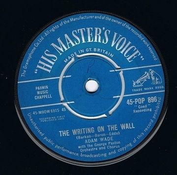 "ADAM WADE The Writing On The Wall 7"" Single Vinyl Record 45rpm HMV 1961"