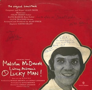 ALAN PRICE O Lucky Man Vinyl Record LP Warner Bros. 1973 Fully Signed
