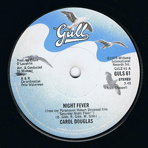 "CAROL DOUGLAS Night Fever 7"" Single Vinyl Record 45rpm Gull 1978"