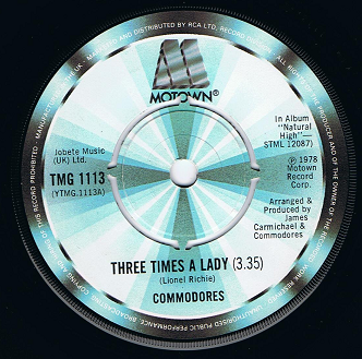 COMMODORES Three Times A Lady Vinyl Record 7 Inch Motown 1978