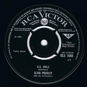 Elvis Presley U S Male 7 Single Vinyl Record 45rpm Rca