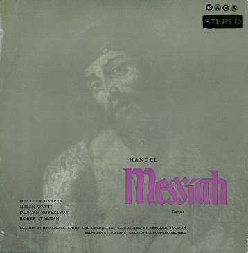FREDERIC JACKSON (LSO) Handel: Messiah Excerpts LP Vinyl Record Album 33rpm Saga 1962