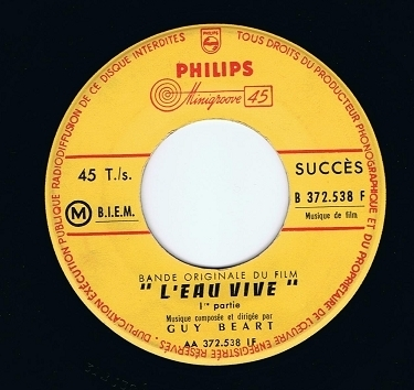 "GUY BEART L'eau Vive 7"" Single Vinyl Record 45rpm French Philips 1958"