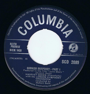 "HARRIET COHEN Cornish Rhapsody 7"" Single Vinyl Record 45rpm Columbia 1959"