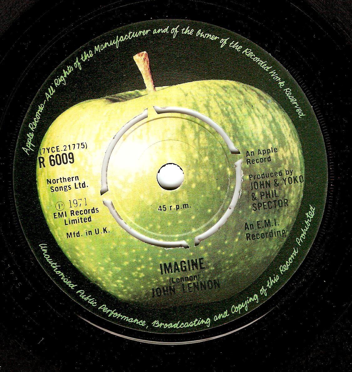 John Lennon Imagine Vinyl Record 7 Inch Apple 1971