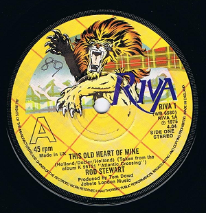 "ROD STEWART This Old Heart Of Mine 7"" Single Vinyl Record 45rpm Riva 1975"