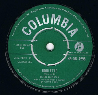 Russ Conway Roulette 7 Single Vinyl Record 45rpm Columbia 1959
