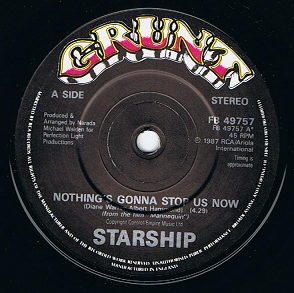 starship nothing s gonna stop us now 7 single vinyl record. Black Bedroom Furniture Sets. Home Design Ideas