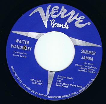 Walter Wanderley Summer Samba 7 Single Vinyl Record 45rpm