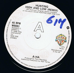 "A-HA Hunting High And Low 7"" Single Vinyl Record 45rpm Warner Bros. 1986"