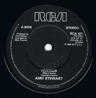 "AMII STEWART Friends 7"" Single Vinyl Record 45rpm RCA 1984"