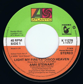 "AMII STEWART Light My Fire/137 Disco Heaven 7"" Single Vinyl Record 45rpm Atlantic 1979."