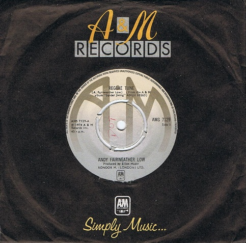 "ANDY FAIRWEATHER LOW Reggae Tune 7"" Single Vinyl Record 45rpm A&M 1974"