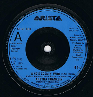 "ARETHA FRANKLIN Who's Zoomin' Who 7"" Single Vinyl Record 45rpm Arista 1985"