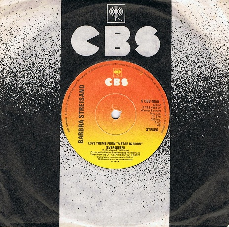 "BARBRA STREISAND Love Theme From ""A Star Is Born"" (Evergreen) 7"" Single Vinyl Record 45rpm CBS 1976"