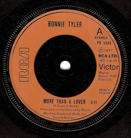 BONNIE TYLER More Than A Lover Vinyl Record 7 Inch RCA Victor 1977