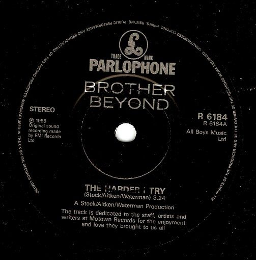 BROTHER BEYOND The Harder I Try Vinyl Record 7 Inch Parlophone 1988