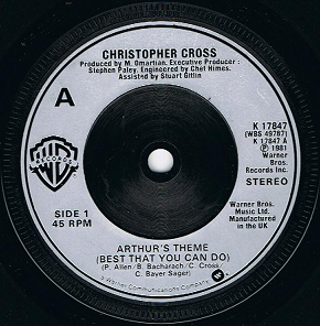 "CHRISTOPHER CROSS Arthur's Theme (Best That You Can Do) 7"" Single Vinyl Record Warner Bros. 1981"