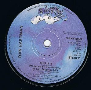 Dan Hartman Instant Replay Vinyl Record 7 Inch Blue Sky S
