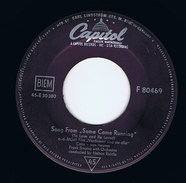 "FRANK SINATRA Song From ""Some Came Running"" 7"" Single Vinyl Record 45rpm German Capitol 1958"