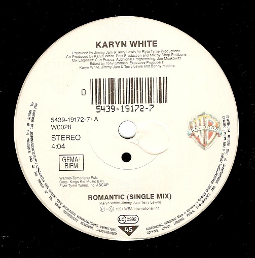 KARYN WHITE Romantic Vinyl Record 7 Inch German Warner Bros. 1991