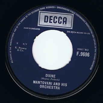 "MANTOVANI Diane 7"" Single Vinyl Record 45rpm Decca 1960"