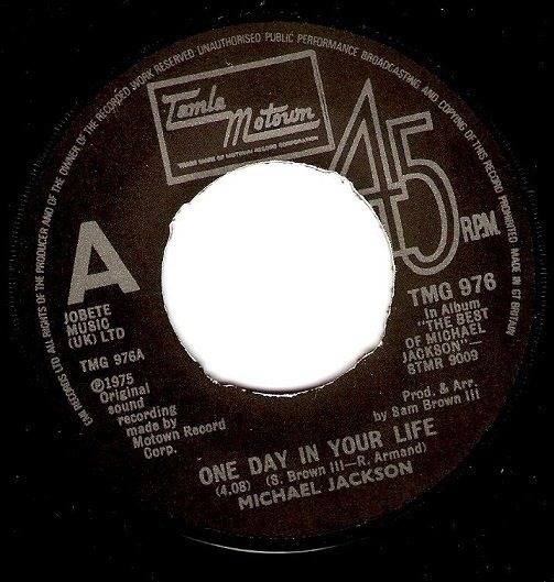MICHAEL JACKSON One Day In Your Life Vinyl Record 7 Inch Tamla Motown 1981.