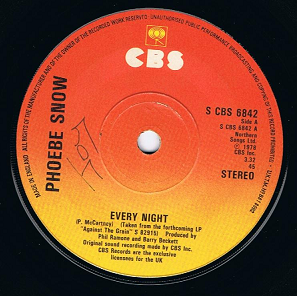 "PHOEBE SNOW Every Night 7"" Single Vinyl Record 45rpm CBS 1978"