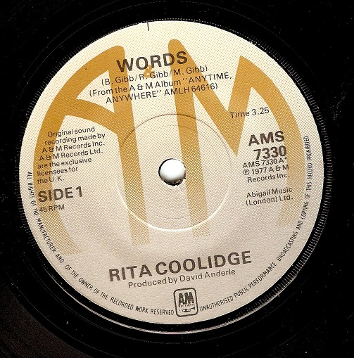 RITA COOLIDGE Words Vinyl Record 7 Inch A&M 1977