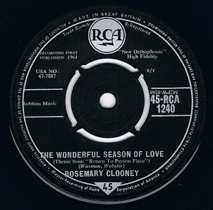 "ROSEMARY CLOONEY The Wonderful Season Of Love 7"" Single Vinyl Record 45rpm RCA 1961"