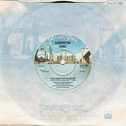 "SAMANTHA SANG You Keep Me Dancin' 7"" Single Vinyl Record 45rpm Private Stock 1978"