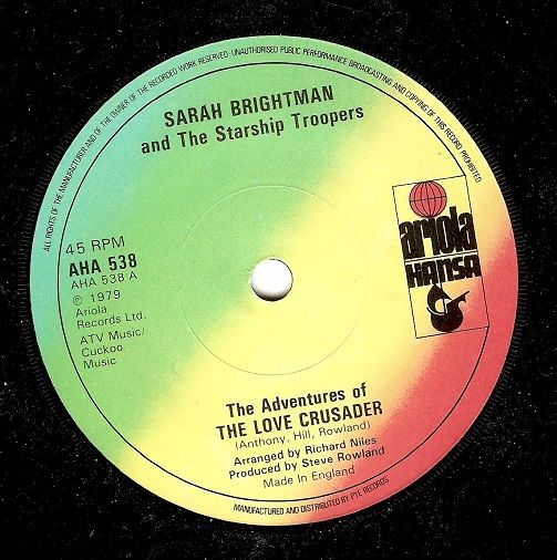 SARAH BRIGHTMAN The Adventures Of The Love Crusader Vinyl Record 7 Inch Ariola Hansa 1979