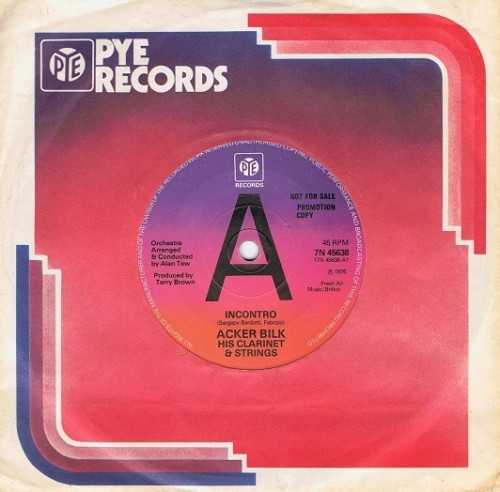 "ACKER BILK Incontro 7"" Single Vinyl Record 45rpm PROMO Pye 1976"