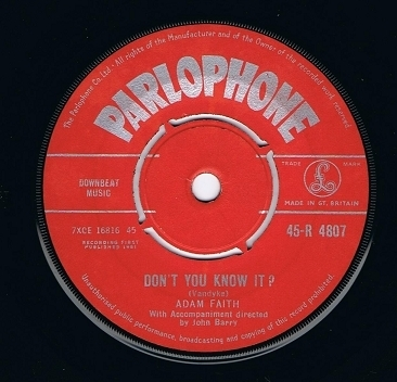 ADAM FAITH Don't You Know It Vinyl Record 7 Inch Parlophone 1961