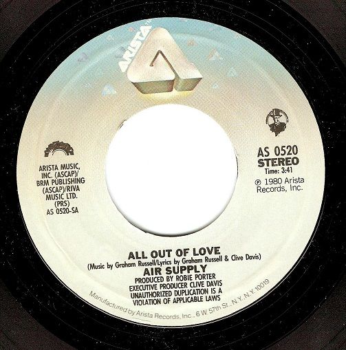 AIR SUPPLY All Out Of Love Vinyl Record 7 Inch US Arista 1980