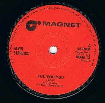 "ALVIN STARDUST You You You 7"" Single Vinyl Record 45rpm Magnet 1974"