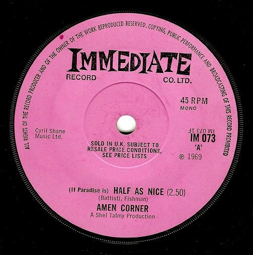 Amen Corner (If Paradise Is) Half As Nice Vinyl 7 Inch | Planet Earth Records