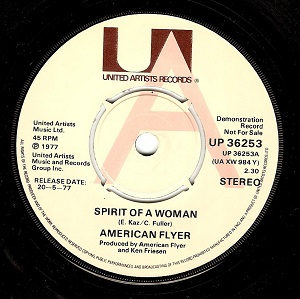 American Flyer Spirit Of A Woman Vinyl Record 7 Inch United Artists UP 36253 Demo
