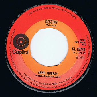 "ANNE MURRAY Destiny 7"" Single Vinyl Record 45rpm Capitol 1971"