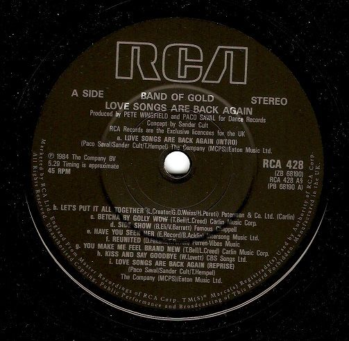 BAND OF GOLD Love Songs Are Back Again Vinyl Record 7 Inch RCA 1984