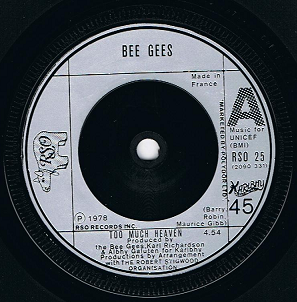 BEE GEES Too Much Heaven Vinyl Record 7 Inch French RSO 1978