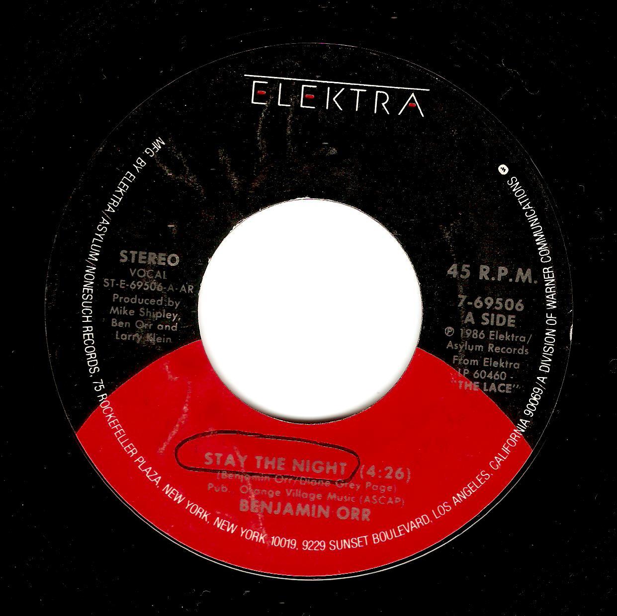 BENJAMIN ORR Stay The Night Vinyl Record 7 Inch US Elektra 1986